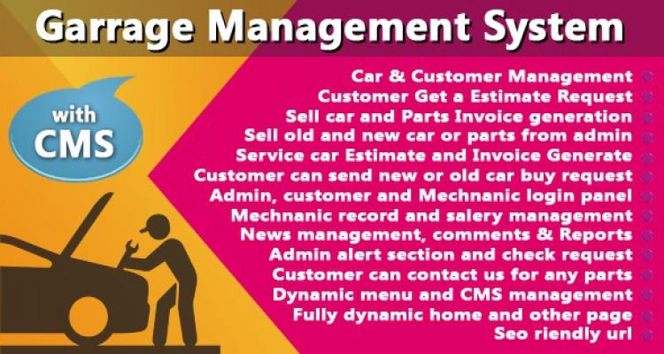 Garage or Workshop Management System With CMS