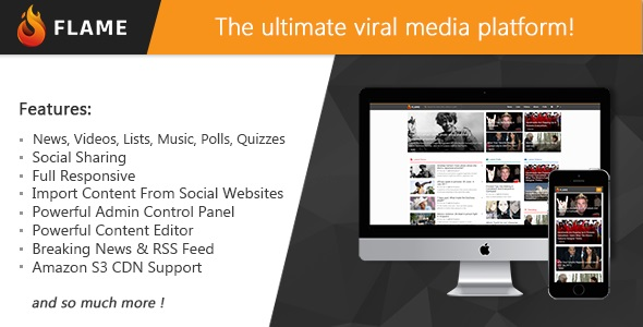 Flame v1.3 - News, Viral Lists, Quizzes, Videos, Polls and Music - nulled