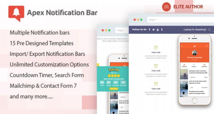 Apex Notification Bar v1.0.4 - Responsive Notification Bar Plugin for WordPress