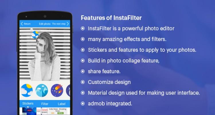 Insta Filter (Fun with Photos & Stickers + Admob)