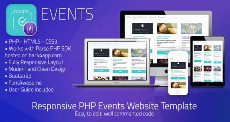 Events | PHP Event Sharing Web Template (Parse PHP)